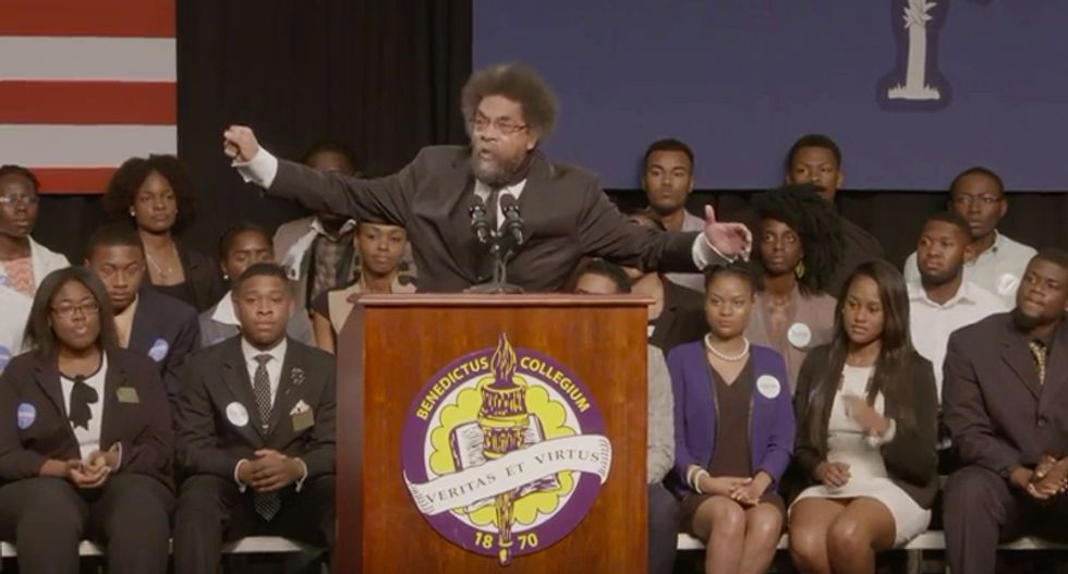 WATCH: Cornel West gives rousing introduction for Bernie Sanders at historically black college