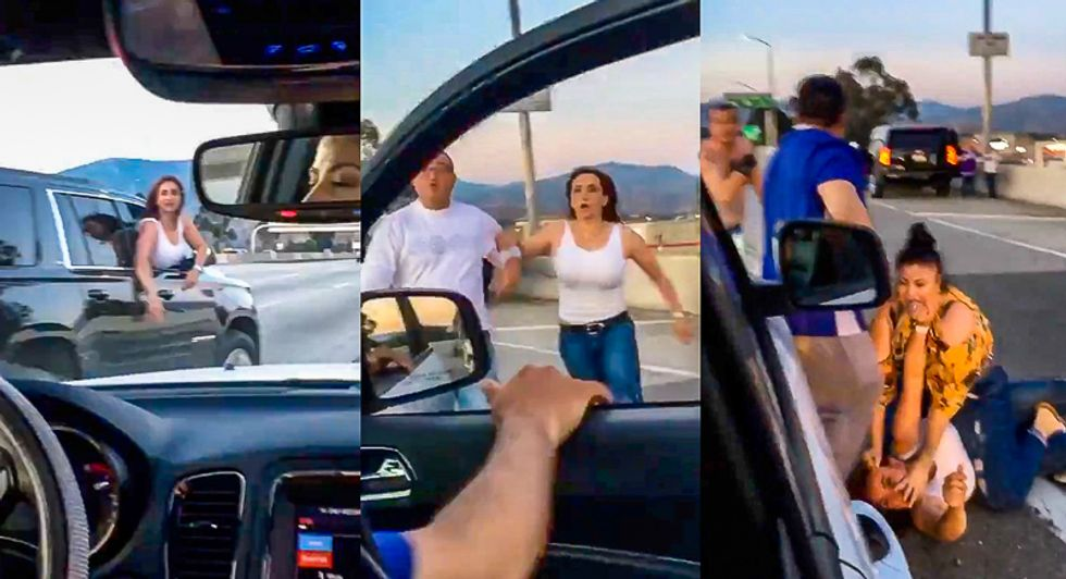 Video catches white couple getting butt kicking on freeway after calling Latino family 'beaners'