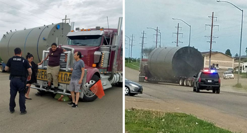 Native American tribe kicks TransCanada trucks with KeystoneXL supplies off their reservation