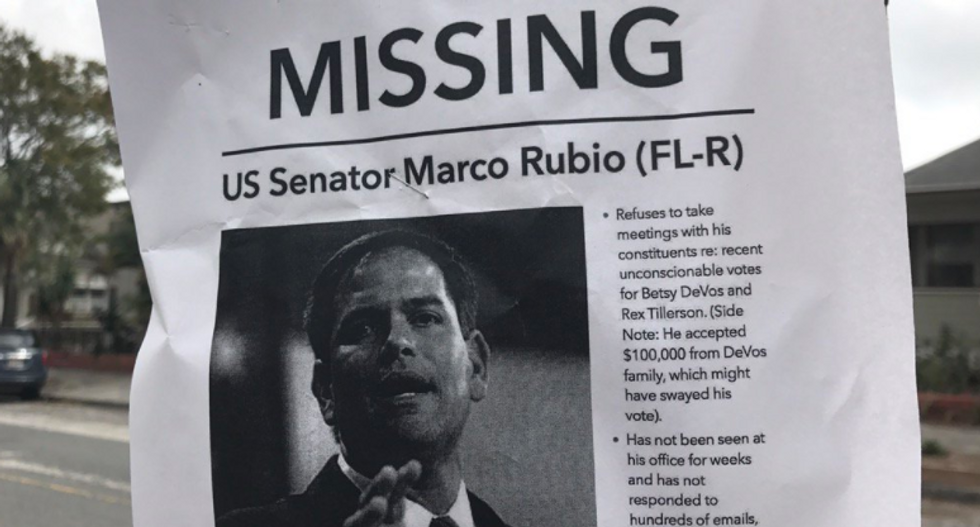 Marco Rubio trolled with missing person fliers after refusing to meet with his constituents