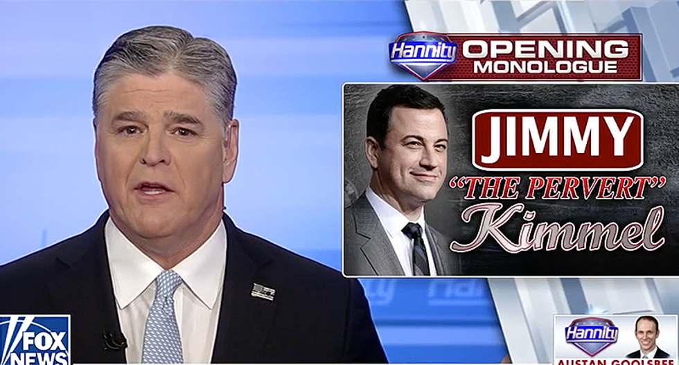 Hannity says he does not 'take joy' in 'going after Jimmy Kimmel' -- then promises to 'pound him with his own words'