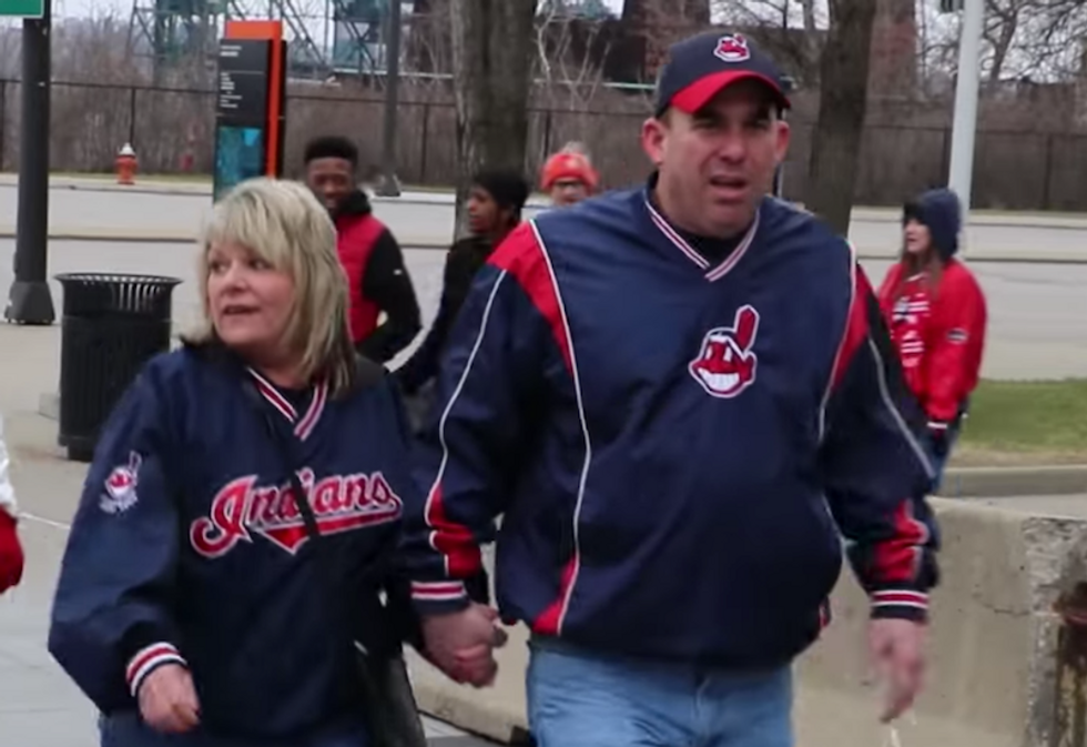 Watch: Cleveland baseball fans hurl abuse at Native Americans outside stadium