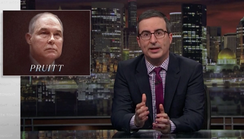 John Oliver mocks Scott Pruitt's napping habit: 'Get the f*ck up ...you've got a country to ruin!'