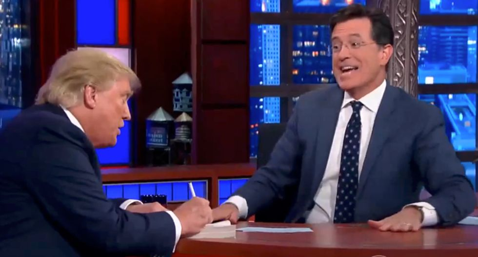 Stephen Colbert tells Sirius radio host that Trump is a 'coward': 'He won't come back on the show'