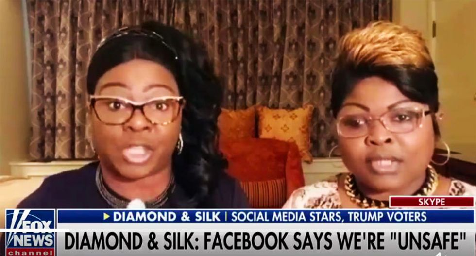 Fox News regulars Diamond & Silk have Twitter meltdown after Facebook labels their videos 'unsafe to the community'