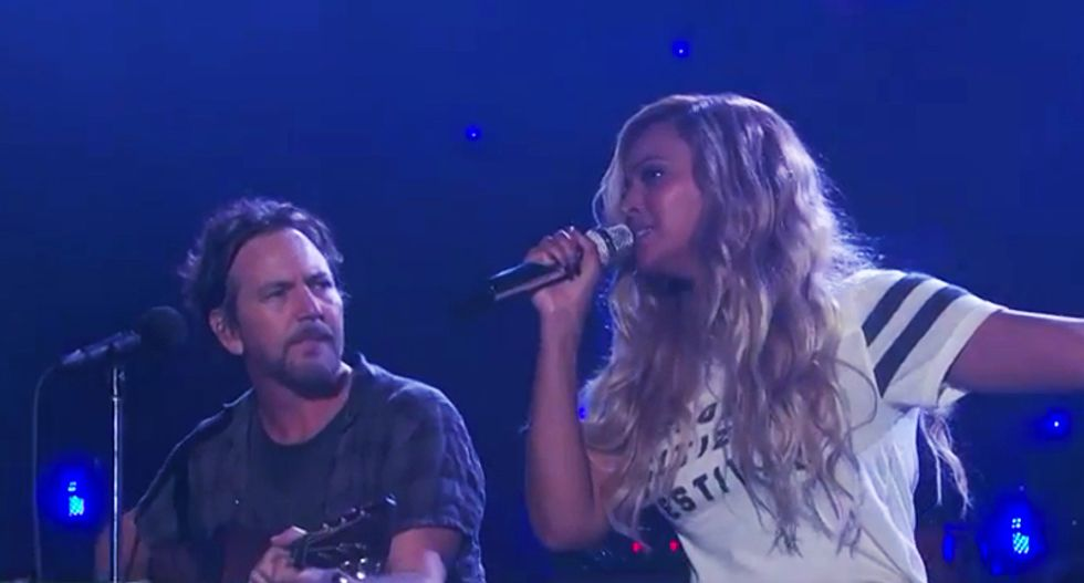 WATCH: Beyoncé and Eddie Vedder perform stunning duet of Marley's 'Redemption Song' at Global Festival