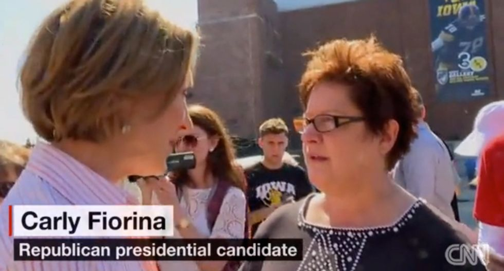 Carly Fiorina tailgate interrupted by Planned Parenthood supporters throwing condoms