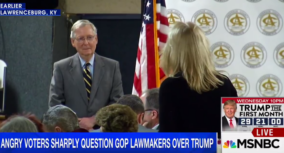 WATCH: Angry constituent confronts Mitch McConnell over Trump's pledge to 'bring back coal jobs'