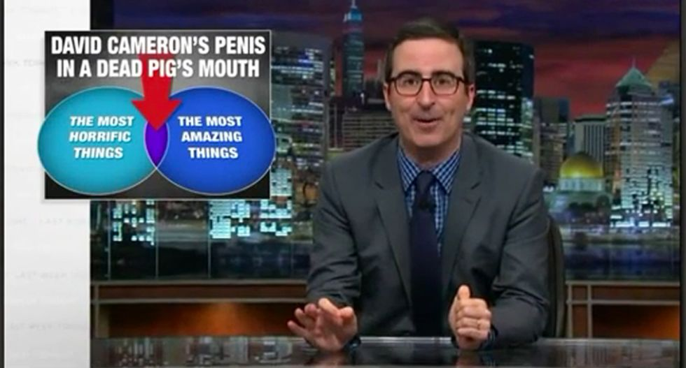 John Oliver is so excited about the David Cameron pig scandal that he can't tell the jokes fast enough