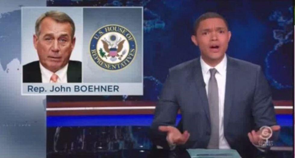 Trevor Noah mocks GOP ouster of 'too liberal' Boehner: It's like crack telling meth it's not addictive enough