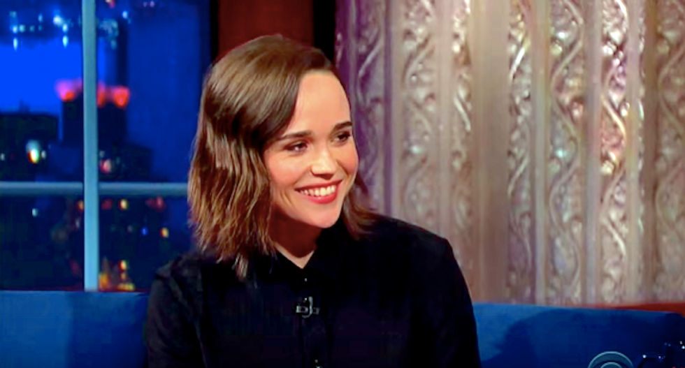 Ellen Page tells Stephen Colbert she's 'grateful' to be out of the closet: 'It is not a nice place to be'