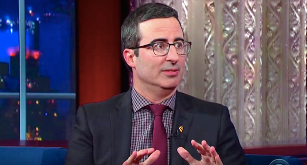 John Oliver tells Stephen Colbert: 'I couldn't give less of a sh*t' about Donald Trump
