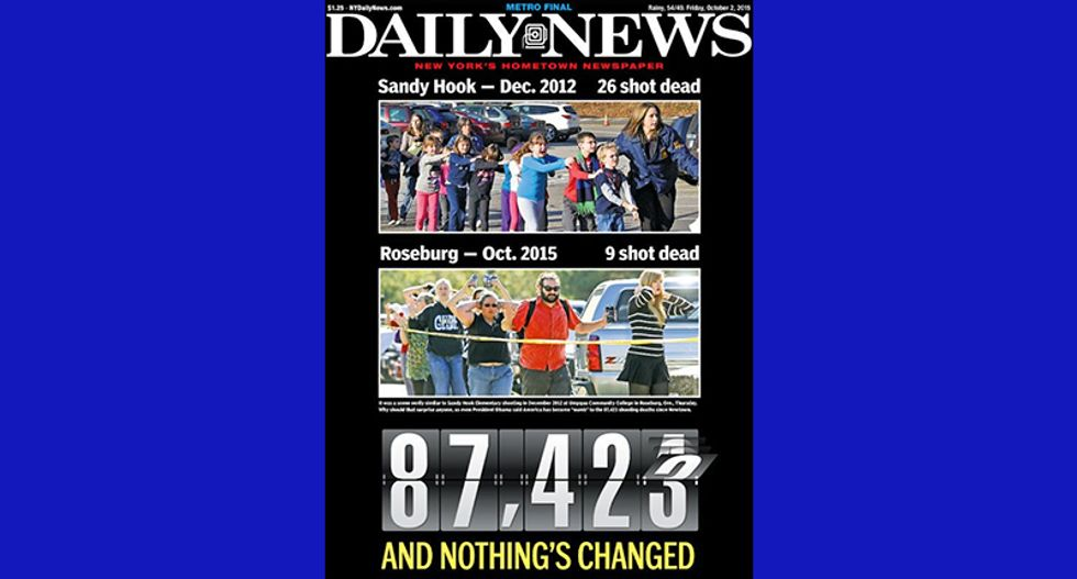 'NOTHING'S CHANGED': New York Daily News indicts gun culture in powerful post-Umpqua cover