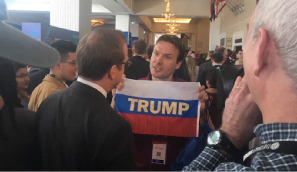 'In Trump's America, flag wave you': Protestors take credit for Russian flags at CPAC