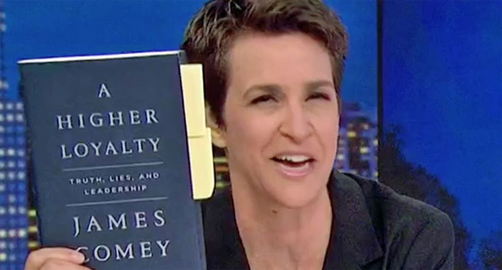 'The scoop is that I have this': Watch Rachel Maddow read new shocking passages from forthcoming James Comey book