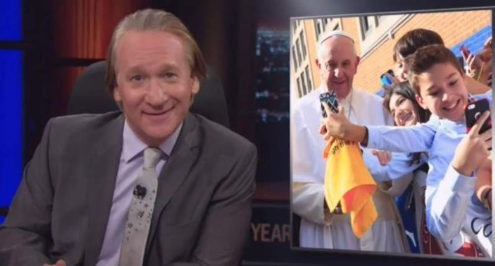 Bill Maher mocks cell phone-obsessed Pope Francis fans: 'Never turn your back on a priest'