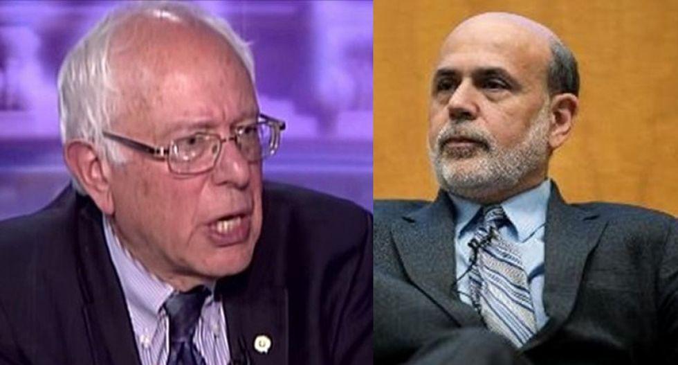 Book-hawking Bernanke thinks everyone forgot about that time Bernie Sanders kicked his a**