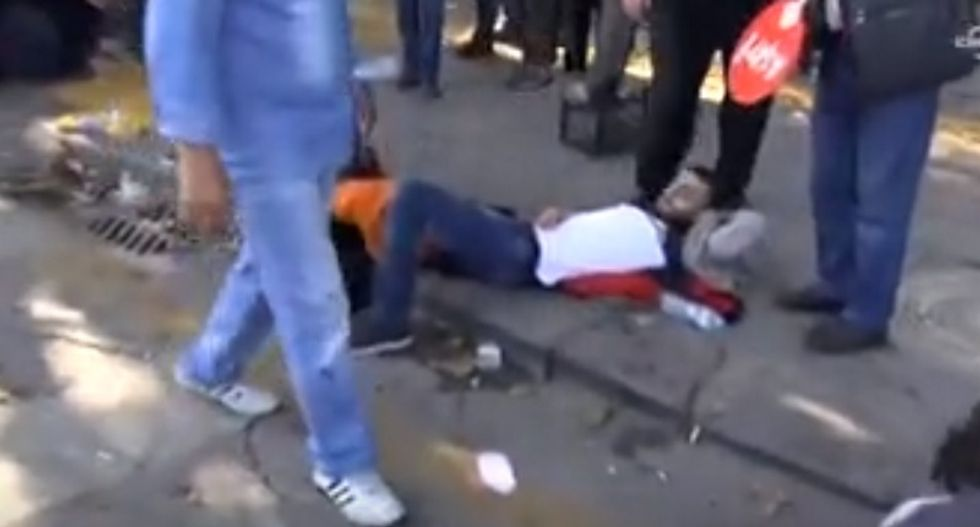 Nearly 100 killed by suicide bombers at peace rally in Turkey on Saturday