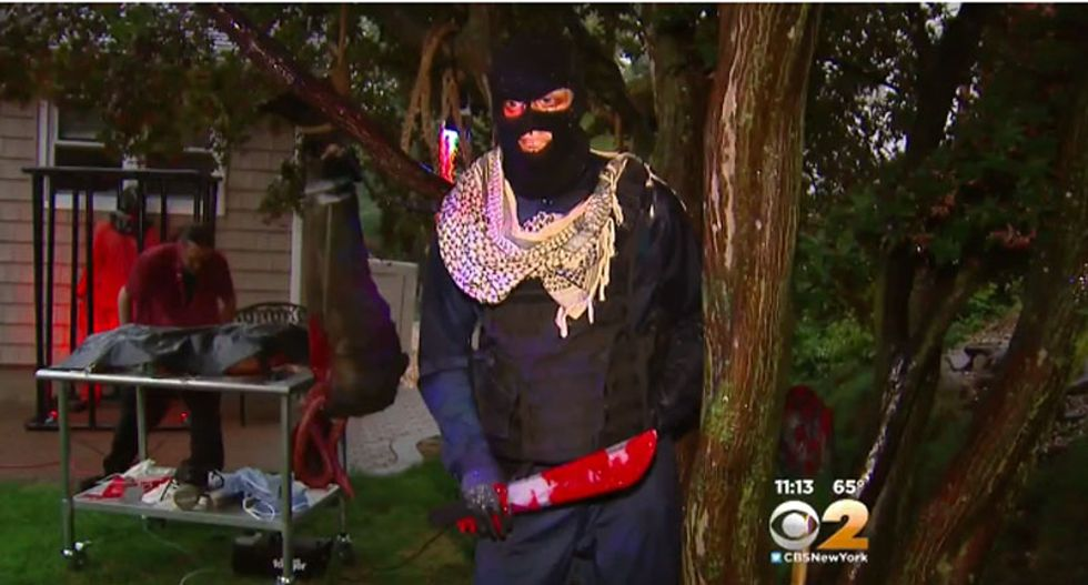 New Jersey man irritates neighbors with gory Halloween display showing Obama as ISIS militant