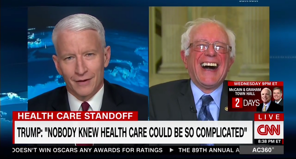Watch Bernie Sanders bust out laughing at Trump's daft claim that 'nobody knew health care' is complicated