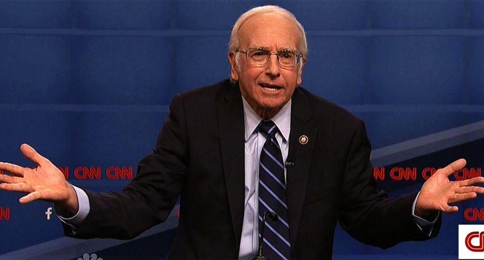 WATCH: SNL recruits Larry David to play Bernie Sanders kvetching at the Dem debate -- and he kills it