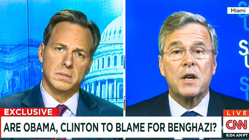 CNN host destroys Jeb Bush: You blame Hillary for Benghazi but insist brother blameless for 9/11