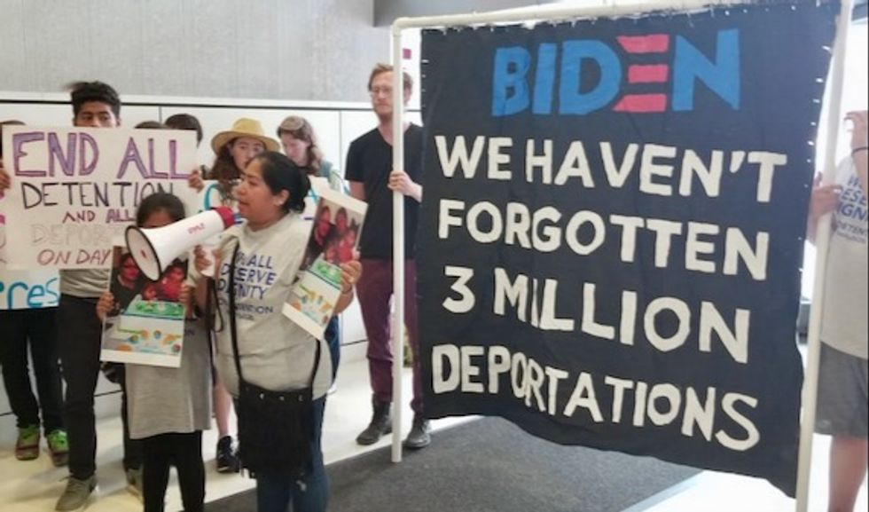 Demanding dignity for all immigrants, families separated by Obama administration demand apology from Joe Biden