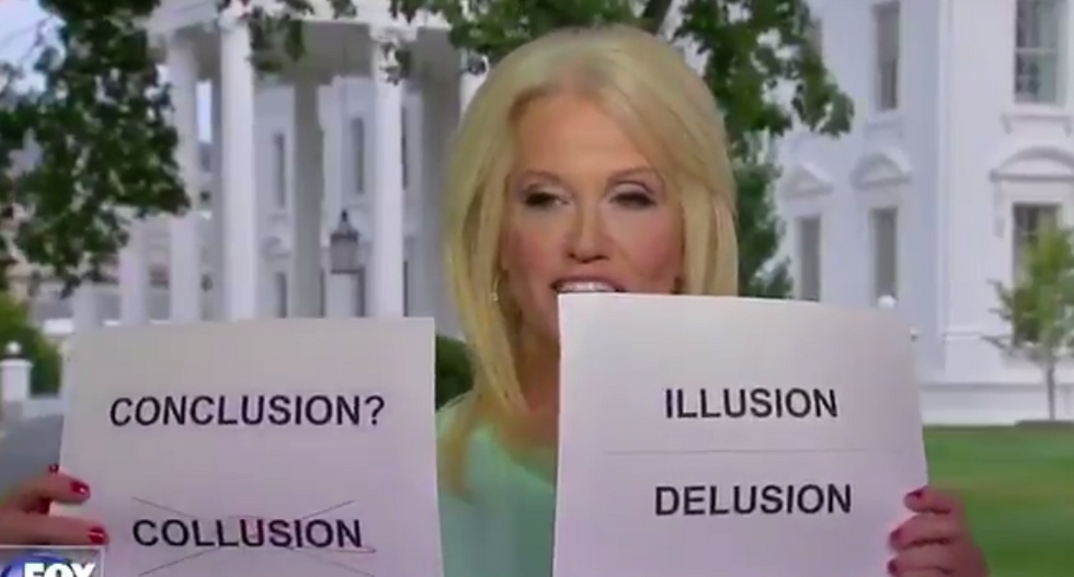 'A meme is born': Watch Kellyanne Conway use visual aids to explain why there's no Trump-Russia collusion