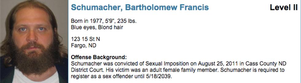 Bartholomew Schumacher sex offender registry