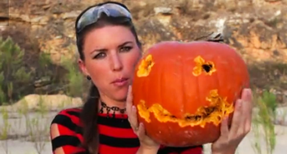 WATCH: Gun nut shows how to use rifle to carve a Halloween pumpkin -- because society is doomed