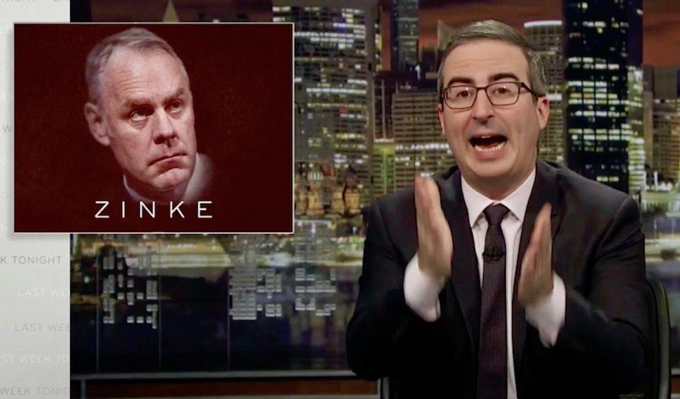 Watch: John Oliver busts 'deeply strange' fake geologist Ryan Zinke who Trump named secretary of the interior