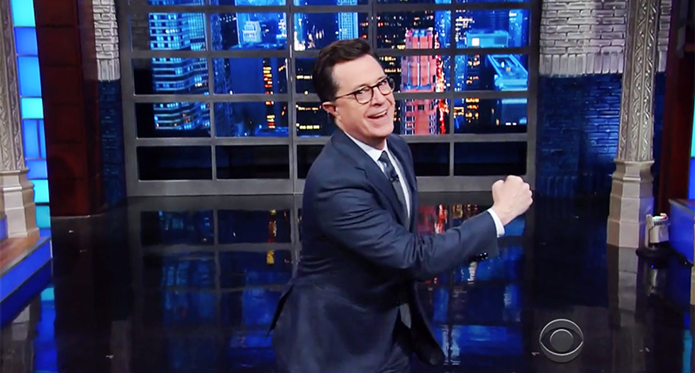 Colbert jabs Trump for saying 'everyone' is in the caravan: 'Carmen Sandiego is in there with balloons full of heroin'
