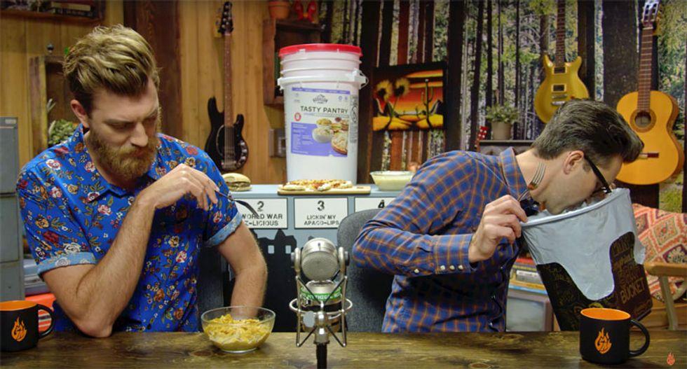 Youtubers taste-test disgraced evangelist Jim Bakker's $175 'end-times' food bucket -- and it's hilarious