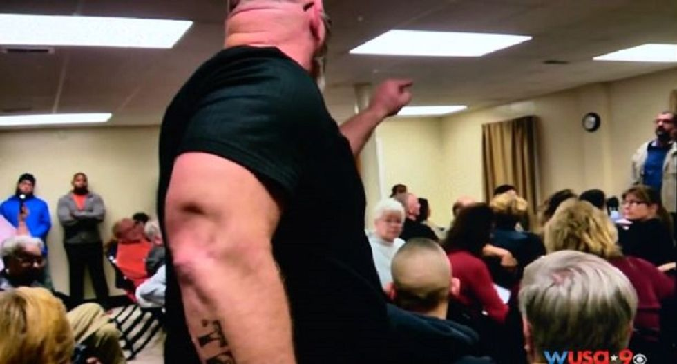WATCH: Virginia town hall meeting descends into chaos as anti-Muslim bigots scream insults
