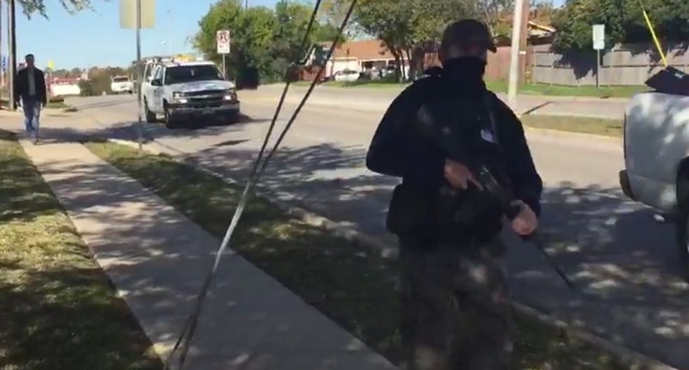 Armed protesters stalk peaceful Muslims at Texas mosque: We want to show force