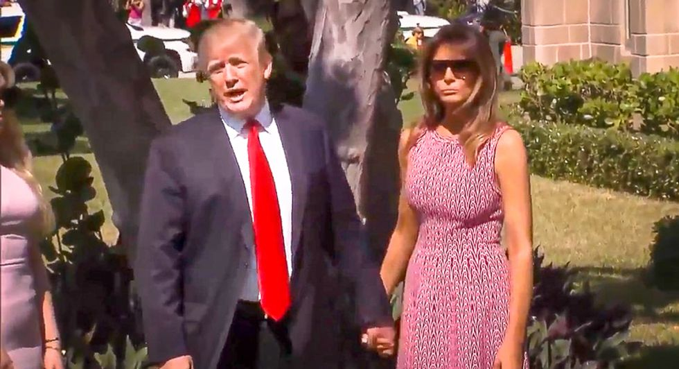 WATCH: Trump stands in front of church and attacks immigrants on Easter Sunday