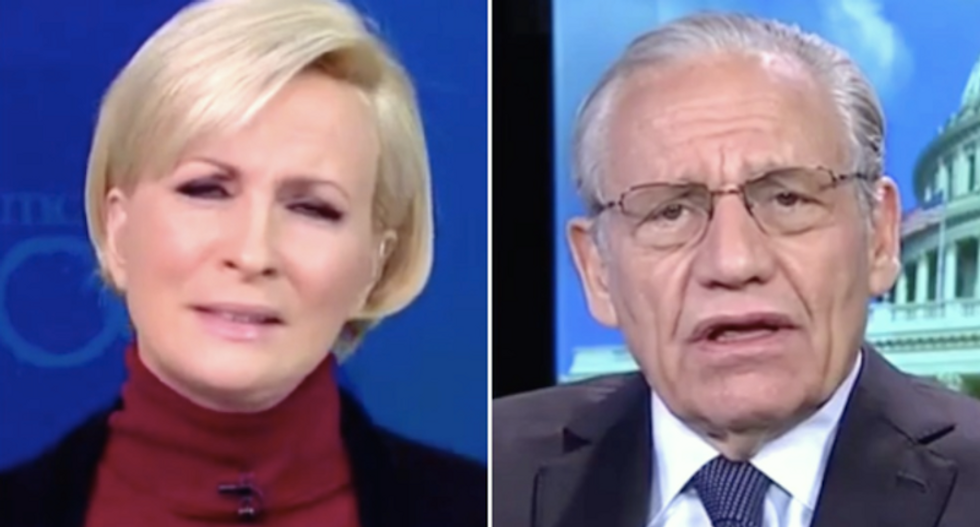 WATCH: Mika Brzezinski cringes as Bob Woodward struggles to defend Trump's wiretap claims as normal