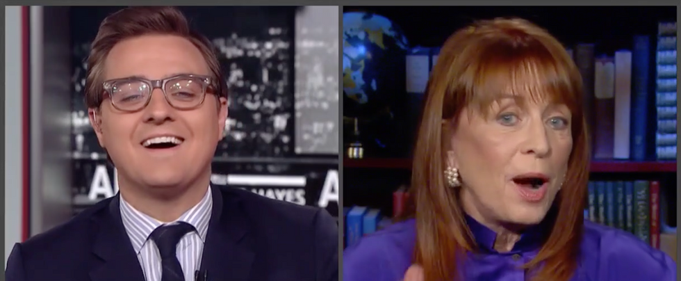 Watch MSNBC's Chris Hayes get in a shouting match with a zany Trump adviser over the Constitution