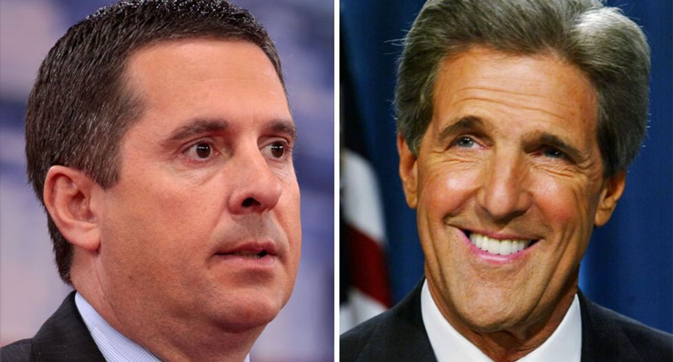 'Send in the G Men': Devin Nunes calls for John Kerry to be arrested by the FBI