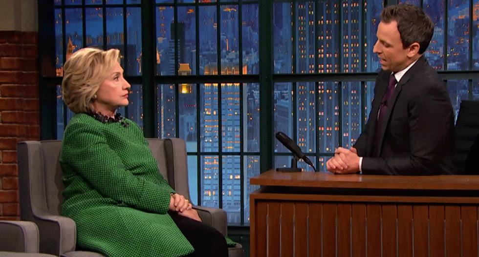 Hillary Clinton tells Seth Meyers: Donald Trump is no longer funny -- he's dangerous