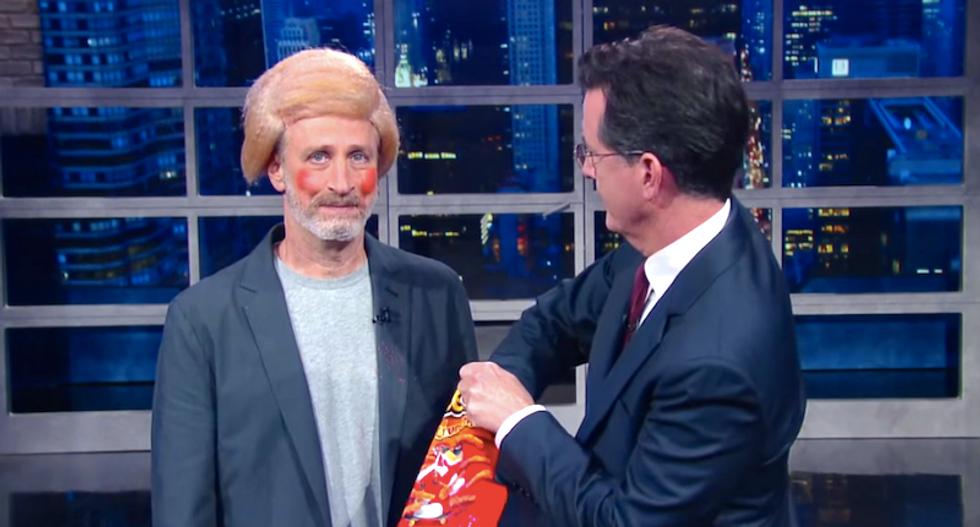 Jon Stewart crashes  Stephen Colbert's show to tout 9/11 first responders bill -- dressed as Donald Trump