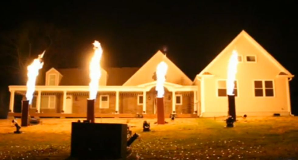 WATCH: Insane pyrotechnics and fog-machine Christmas lights show at New Jersey home