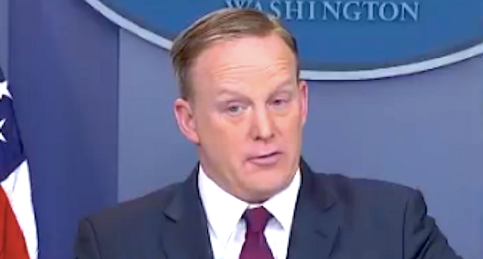 Sean Spicer blames Syria gas attacks Obama 'weakness' -- and then shuts down questions on Putin's role