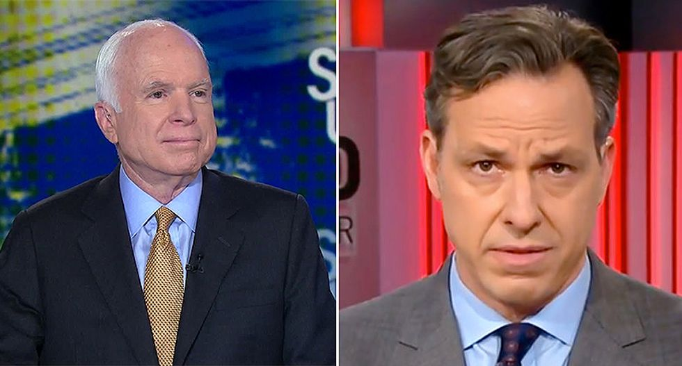 WATCH: CNN's Jake Tapper rains hell on Fox guest who accused POW John McCain of betraying his country