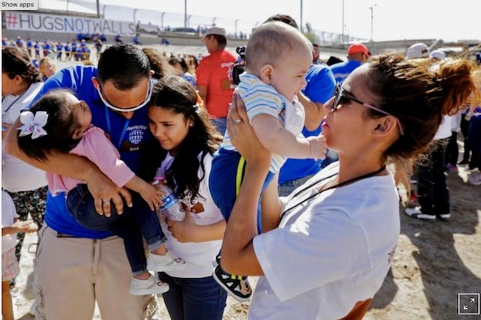 Families reunited in 'Hugs Not Walls' event at US-Mexico border