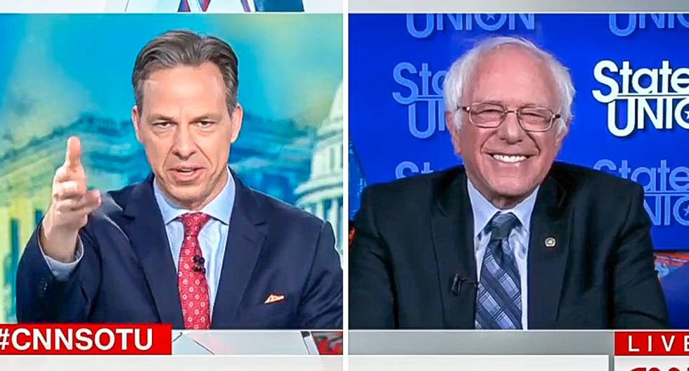'You went from deflection to pandering': Jake Tapper calls out Bernie Sanders for ridiculous answer on 2020 run