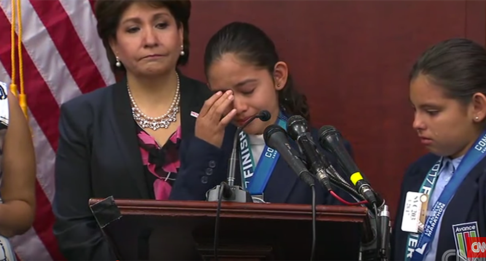 WATCH: Sobbing teen relays tragic story of her father's ICE arrest while en route to school