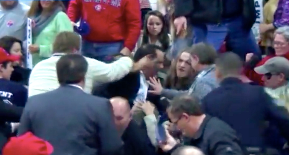 WATCH: Trump-loving 'celebrity boxer' bodyslams protester who called GOP candidate a 'fascist'