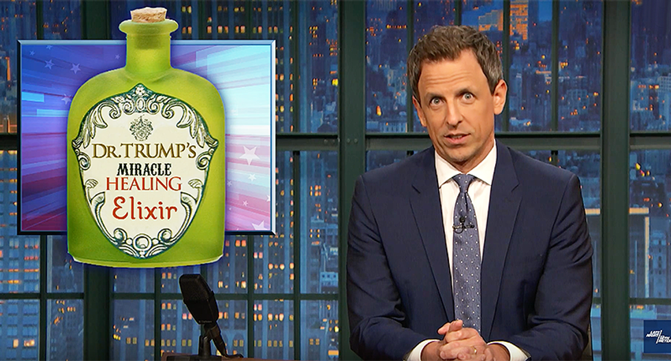 Seth Meyers blasts Trump's claim of draining the swamp: 'He bottled it and sold it as Dr. Trump's Miracle Healing Elixir'