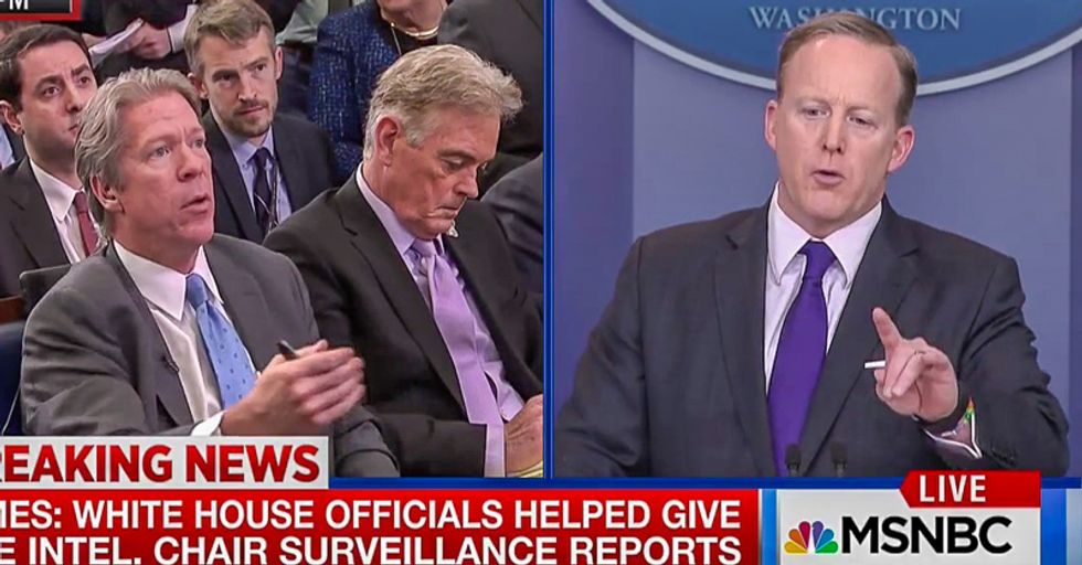 'I never said I would provide answers': Sean Spicer snaps after White House is busted for leaking to Nunes